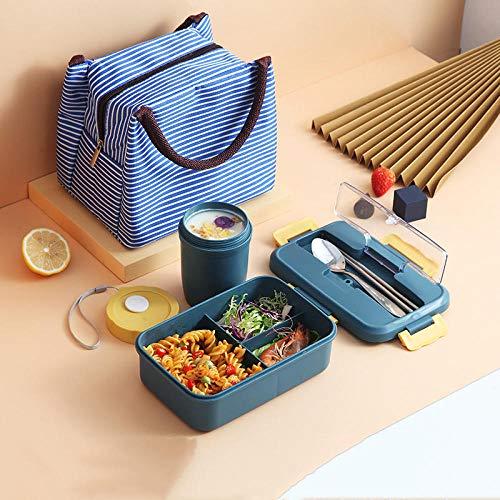 Contenitori per Alimenti Porta Pranzo con Set Lunch Box Separato con Posate, Riscaldamento Microonde, Lunch Box Isolato