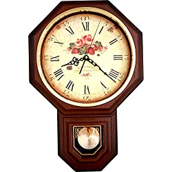 Justime Vintage Rose Classic Traditional Schoolhouse Pendulum Wall Clock Chimes Every Hour with Westminster Melody Made in Taiwan, 4AA Batteries Included (PP0258-FDW Dark Wooden Grain)