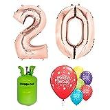 Pack Completo de Globos y Helio 20 Cumpleaños Rose Gold