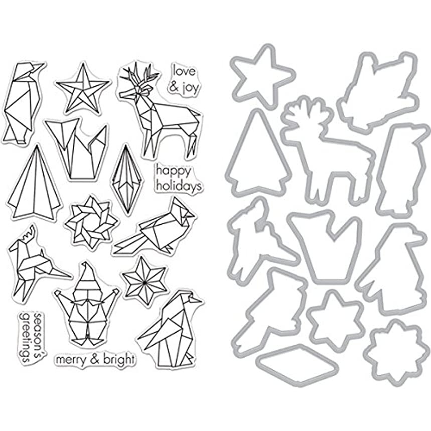 Hero Arts Clear Stamp & Die Combo-Origami Holiday