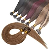 16inch Light Brown Nano Ring Human Hair Extensions Pre Bonded Keratin Fusion Stick Tip Iron Loop Link Straight Micro Bead Remy Hairpiece for Women Highlighted 50 strands 50g #6