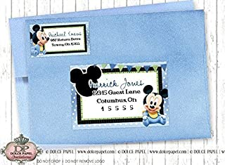 10 BABY MICKEY MOUSE Black and Blue Birthday Party RETURN & GUEST Address Labels for your Invitation Envelopes
