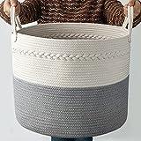COSYLAND Cesta de Colada de Algodón Almacenamiento Tejida Canasta Grande Plegable Organizador de Cuerda Cestas de Ropa Baño para Bebés Toallas Manta Cesto de Guardería con Asa (S2-43 x 38cm)