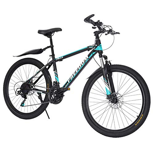 【US Spot】 Full Suspension Mountain Bike, 26 Inch Adults Mountain Bike with 21 Speed Dual Disc Brakes, Outdoor Racing Cycling MTB Bikes,High Carbon Steel Frame for Men/Women (Black)