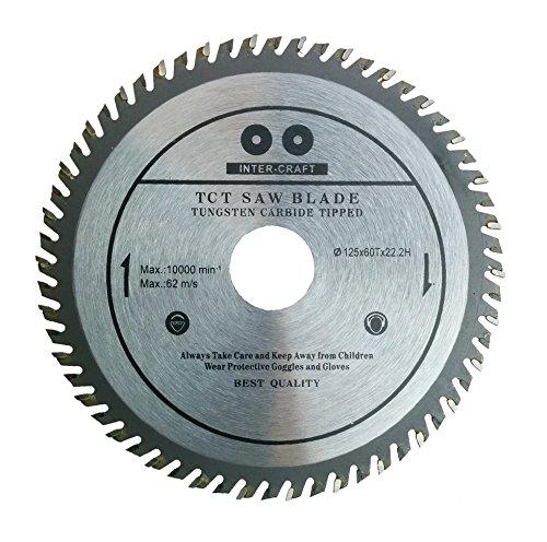 Inter-Craft Hoja de sierra circular para madera (125 x 22,2 mm, 60 dientes)
