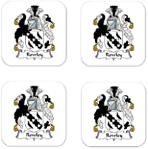 Rowley Family Crest Square Coasters Coat of Arms Coasters - Set of 4