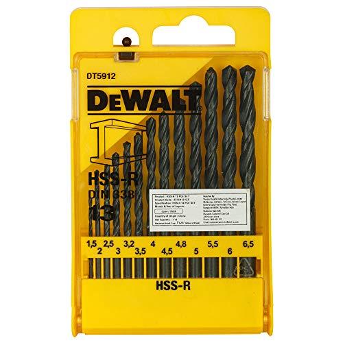 DeWalt DT5912-QZ FORATURA NEL Metallo Set 13 Punte HSS-R DIN 338 Foratura nel Metallo, in Cassettina di Plastica, Diametri 1.5, 2, 2.5, 3, 3.2, 3.5, 4, 4.5, 5 x2, 5.5, 6, 6.5 mm