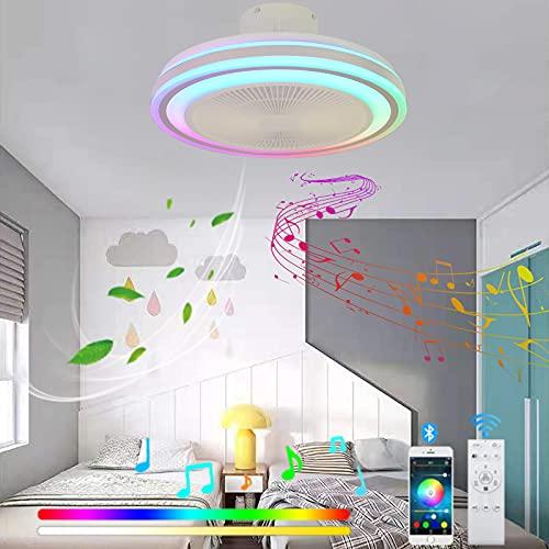 VOMI Silencioso Ventilador de Techo con Altavoz Bluetooth Música Lámpara de Techo con Ventilador RGB Cambios de Color LED Candelabro Regulable con Mando a Distancia para Dormitorio Salón
