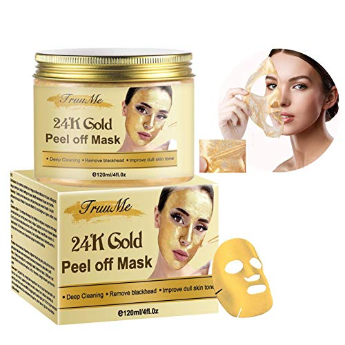 24K Gold Gesichtsmaske, Mitesserentferner-Maske, Mitesser Maske, Peel Off Maske, Anti Aging Maske, Tiefenreinigung Mitesser & Poren, Ölkontrolle Beruhigende & feuchtigkeitsspendende Haut