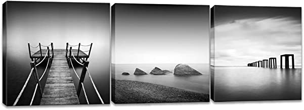 Innopics 3 Piece Black and White Beach Pier Seascape Canvas Print Stone Wooden Jetty Picture Horizon Landscape Painting Wall Art Decor Framed for Home Office Bedroom Decoration Each Size 12