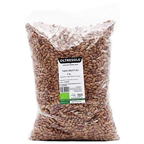 Oltresole - Fagioli Borlotti Biologici 5 Kg - legumi secchi bio da coltivazione controllata, ideali da utilizzare in insalate, zuppe, minestre e contorni, confezione convenienza