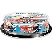 Philips DVD+R DR8S8B10F/00 - DVD+RW vírgenes (8,5 GB, DVD+R DL, 10 Pieza(s), 240 min, 140 mm, 140 mm)