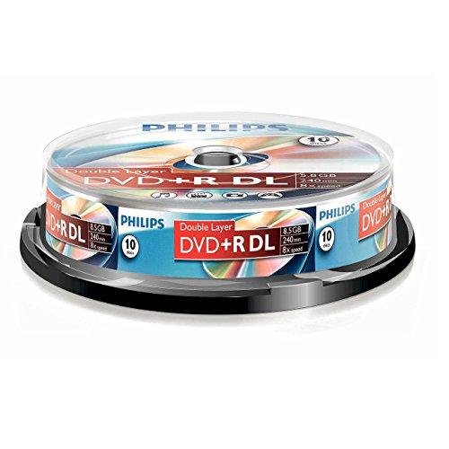 Philips DVD+R - DVD+R (8,5 GB de datos/240 minutos de vídeo, 8 x alta velocidad, husillo de 10 unidades, doble capa DL)