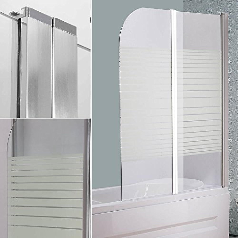 Melko Duschabtrennung Badewannenaufsatz aus 5 mm ESG Sicherheitsglas, faltbar, 133 x 108 cm, Teilsatiniert, inkl. Zubehr