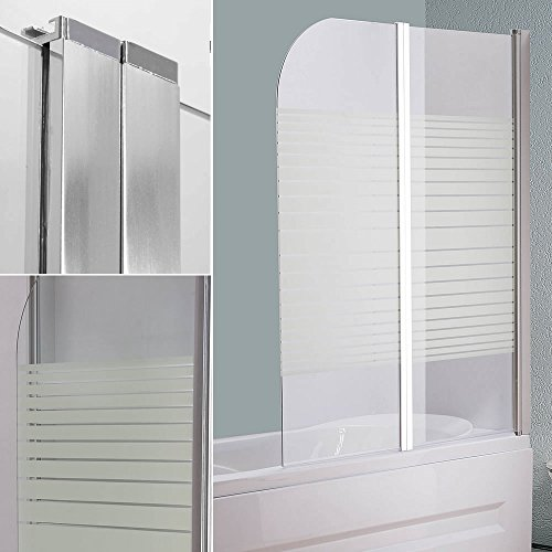 Melko Duschabtrennung Badewannenaufsatz aus 5 mm ESG Sicherheitsglas, faltbar, 133 x 108 cm, Teilsatiniert, inkl. Zubehör