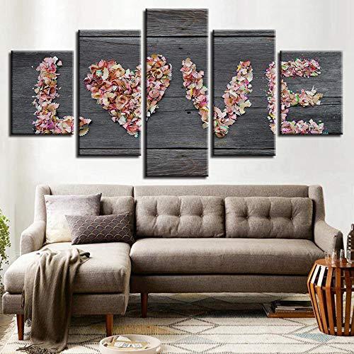 Htekgme 5 canvas afdrukken Hd Prints Afbeeldingen Wooncultuur 5 stuks liefde schilderen romantische kleur potlood letters poster woonkamer muurkunst