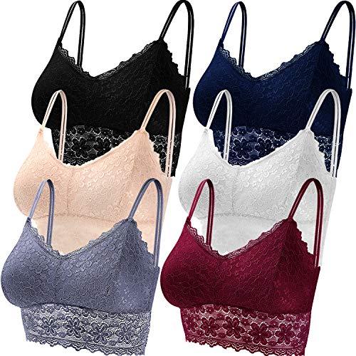 Duufin 6 Piezas Sujetador de Encaje Tipo Bralette para Mujer, 6 Colores (Negro, Beige, Blanco, Azul Marino, Gris y Burdeos, XL)