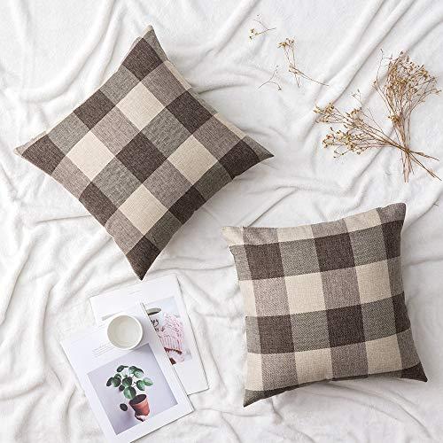 Woaboy - Juego de 2 fundas de almohada de lino decorativas de algodón suave y sólido, cuadradas para sofá, sala de estar, dormitorio, coche, casa de campo