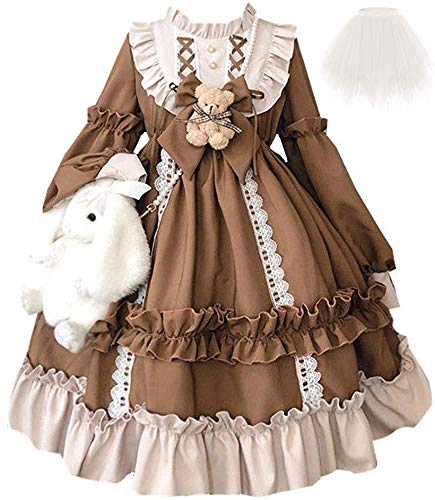 Topin Lolita Princess Dress Kawaii Long Sleeves Sweet Girl Chiffon Fancy Dress Brown