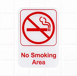 No Smoking Area Sign - Red and White, 9 x 6-Inches Fire Exit/Fire Safety Signs by Tezzorio