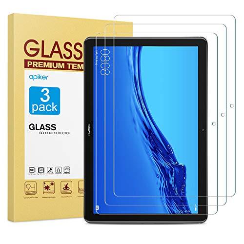 apiker [3 Packs Protector Pantalla Compatible con Huawei MediaPad T5 10, Cristal Templado Vidrio para Huawei MediaPad T5 10 10.1 Pulgadas 2018 [9H Dureza] [Alta Definición]