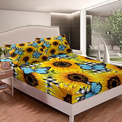 Juego de cama de girasol, tamaño individual, diseño de mariposas, color negro, blanco, con 1 funda de almohada