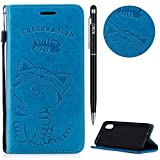 WIWJ iPhone XR Hülle,iPhone XR Case Leder, Prämie PU Klapphülle Leder Brieftasche[Impressum Cat Love Fish Handy Case] Schutzhülle für iPhone XR-Blau
