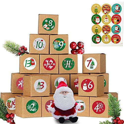 abbx 24 Calendario de Adviento,Cajas de Regalo Navidad Calendario de Adviento,Calendario Adviento DIY, Adhesivos Digitales de Adviento,2020 Bolsa para Calendario de Advient (B)