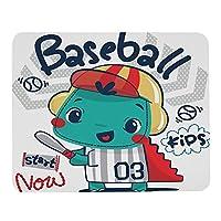 かわいい漫画の恐竜のマウスパッド帽子をかぶってバットを持っている少年野球選手赤緑白パーソナライズされたデザイン滑り止めゴムマウスパッドマウスマットデスクトップノートブックマウスパッド9.5x7.9インチ