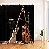 DOOPVM Cortina de Ducha Impresa en 3D 180x180cm Instrumentos Musicales Guitarra acústica Batería Juego de Cortinas de baño Baño Impermeable
