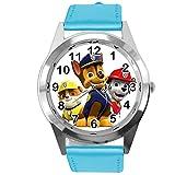 Reloj de cuarzo con correa de cuero azul redondo para fans de Pup