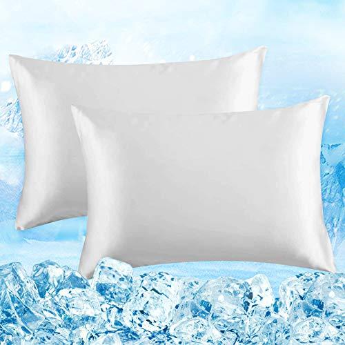 Elegear Funda de Almohada de Refrescantes de 2, Q-MAX 0,4 ARC-Chill Japonés Fibra de Enfriamiento, Funda Protege Almohada Suaves Transpirables con Cremallera Oculta (Blanco,50 * 75cm)