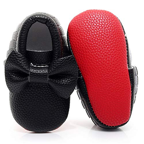 Double Bow Baby Moccasins - Soft Red Sole Baby Shoes Toddler Infant Fringe Girls Shoes (0-3Months/10.5cm/3M US Infant, Black)
