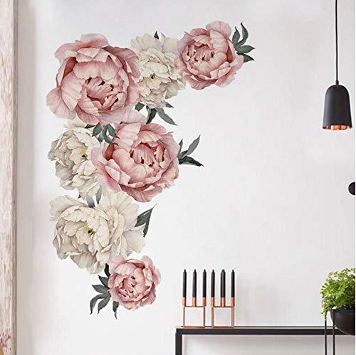 GVFTG grote roze pioenroos bloem muursticker romantische bloemen wooncultuur voor slaapkamer woonkamer DIY vinyl muurtattoos 71,5 x 102 cm