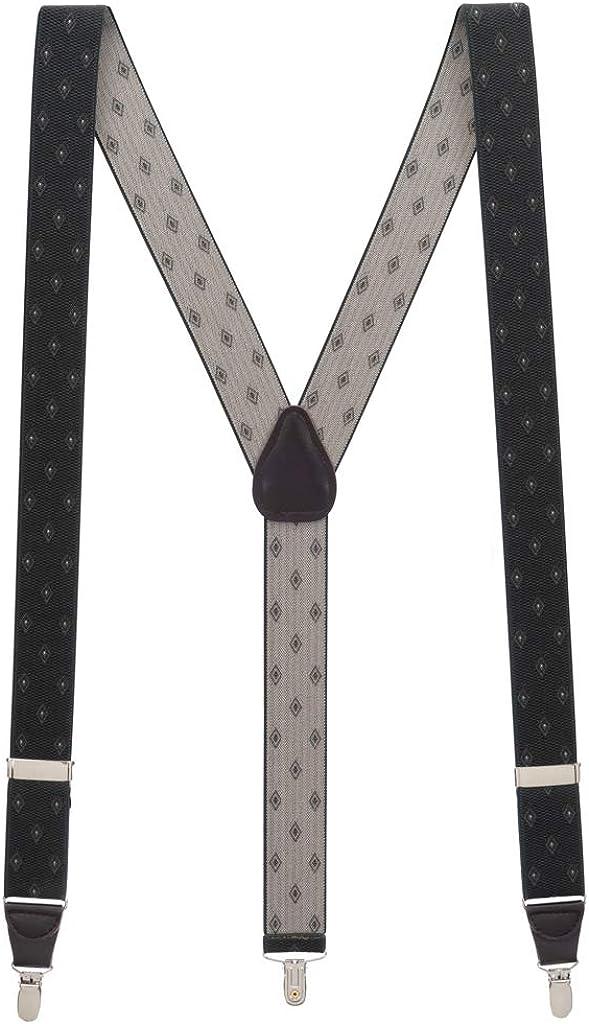 Men's Jacquard Woven Diamond Suspenders - CLIP