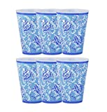 Lilly Pulitzer 14 Ounce Blue Reusable Plastic Pool Cups, Set of 6, Turtley Awesome