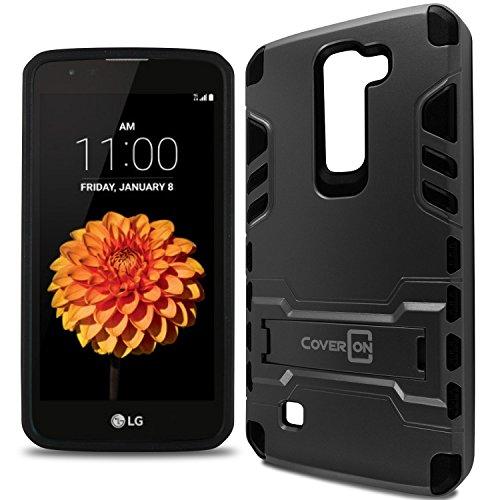 LG K7 Case, LG Tribute 5 Case, CoverON [Armor Series] Hard Slim Hybrid Kickstand Phone Cover Case for LG K7 / LG Tribute 5 - Gunmetal Grey