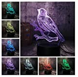 Gorrión animal Luz de noche 3D LED lámpara de ilusión Luz de Noche para Niños 7 Colores Cambian Niña Adulto Dormitorio Táctil Alimentación USB Como Luces de Decoración Del Hogar