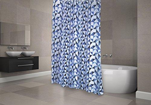 """MSV Premium Anti-Schimmel Textil Duschvorhang - Anti-Bakteriell, waschbar, 100prozent wasserdicht, mit 12 Duschvorhangringen - Polyester, """"Calula"""" Blau, Weiß 180x200cm – Made in Spain"""