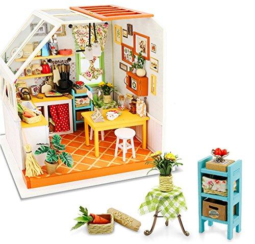 Rolife Kits de Cocina Miniatura para casa de muñecas con luz DIY Mini casa de Madera Modelo-Mejores Regalos para Adultos-Niños 14 15 16 17 18 años Arriba (Jason's Kitchen)