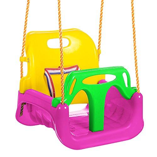 ANCHEER 3-in-1 Sitzschaukel für Kleinkinder, Kinder und Jugendliche abnehmbare aufhängende Sitz Outdoor Alter Von 6 bis 36 Monate (Pink)