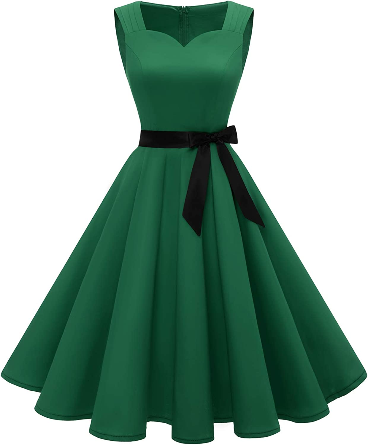 Gardenwed 1950s Retro Vintage Tea Dress with Belt Swing Sleeveless Knee-Length for Women Cocktail Rockabilly Party
