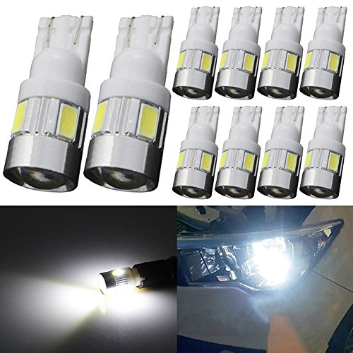 TABEN 194 LED-lampen 6000K Wit 5730 Chipsets Projectorlens T10 W5W 168 2825 LED-lampen Vervanging Light Dome Map Courtesy Door Kenteken Gloeilampen (10st)