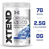 XTEND Original BCAA Powder Blue Raspberry Ice | Sugar Free Post Workout Muscle Recovery Drink with Amino Acids | 7g BCAAs for Men & Women| 30 Servings
