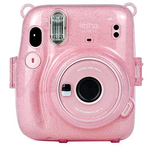 SOLUSTRE Schutzkameratasche mit Regenbogen-Schultergurt Kompatibel mit Fujifilm Mini 11 Sofortbildkamera - Leuchtend Rosa