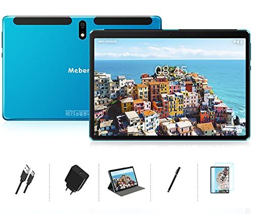 MEBERRY Tablet 10 Pollici Android 10 OS, 8 core 1.6 GHz Ultra-Veloce Tablets PC 4GB + 64GB, Supporta DAD| 128GB Espandibili | Doppia Fotocamera(5MP+8MP)| 8000mAh| Solo WiFi| GPS| Google GMS, Blu