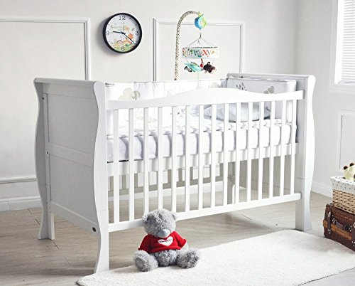 MCC Solid Wooden Baby Cot Bed Savannah City Sleigh Cotbed Toddler Bed & Premier Water Repellent Mattress - Made in England…