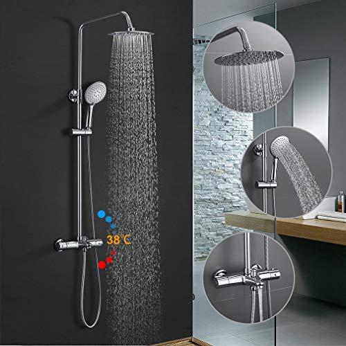 BONADE Duschsystem mit Thermostatbatterie Regendusche 10 zoll Duschkopf und Edelstahl Duschsäule Duschset mit Armatur Dusche Brausegarnitur mit 3-Funktion, Chrom