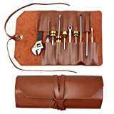 Kani Tool Roll Up Pouch, Heavy Duty PVC Leather Tool Roll Organizer Tool Pouch Wrench Chisel Holder for Storing Wood Carving Tools Folding Knives Bonsais Tools Wrenches Screwdrivers Pliers