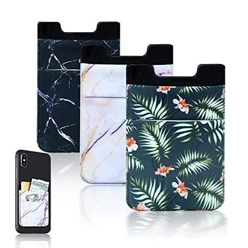 LUXSKY 접착제 신축성 대리석 휴대 전화 스틱 지갑 카드 홀더 다시 전화 지갑 스틱 ON-3PCS(핑크-블랙-FLOWE)
